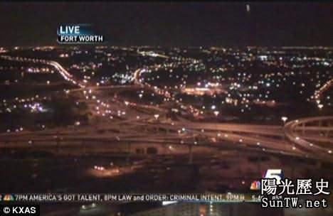 德克薩斯州電視直播不明飛行物造訪驚現白光